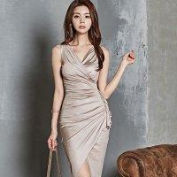 【歳末SALE☆全品15%OFF】シャンパンカラーのカシュクールフリルがリッチなドレス(キャバドレス・CABARETDRESS)