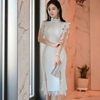 【サマーフェスタ☆全品20%OFF】レースが際立つ純白のツーピースドレス(CABARETDRESS)