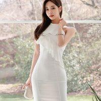 【サマーフェスタ☆全品20%OFF】アメリカンスリーブのフリルラインドレス(CABARETDRESS) ホワイト