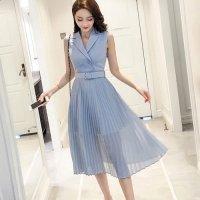 【サマーフェスタ☆全品10%OFF!】ハイウエストプリーツスカートの襟付きドレス(CABARETDRESS)