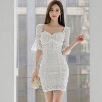【歳末SALE☆全品10%OFF】レースが素肌に浮かぶベルスリーブのドレス(キャバドレス・CABARETDRESS) ホワイト