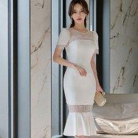 【サマーフェスタ☆全品20%OFF】レース切り替えがフェミニンな純白のマーメイドラインドレス(CABARETDRESS)