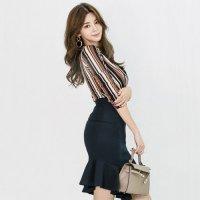【歳末SALE☆全品10%OFF】ストライプカシュクールのツーピース風ドレス(キャバドレス・CABARETDRESS)