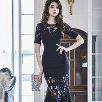 【サマーフェスタ☆全品20%OFF】アラベスク模様が素肌に浮かぶマーメイドラインドレス(CABARETDRESS)