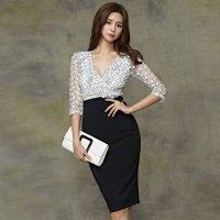 透かし彫りレースとハイウエストスカートのツーピース風ドレス(キャバドレス・CABARETDRESS)