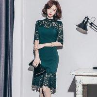 【最大25%OFF☆ホワイトデー】深みグリーンのレースが際立つドレス(キャバドレス・CABARETDRESS)