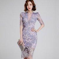 芳醇な香りが溢れてきそうなフラワーレースのドレス(キャバドレス・CABARETDRESS)