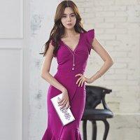 胸元チャームが揺れる裾ヘムスカートのドレス(キャバドレス・CABARETDRESS)
