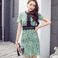 【歳末SALE☆全品15%OFF】花柄総レースの胸元切り替えドレス(キャバドレス・CABARETDRESS) グリーン