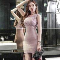 胸元レースのタイトなフィッシュテールドレス(キャバドレス・CABARETDRESS) ピンク