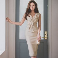 胸元カシュクールのスタイリッシュなドレス(キャバドレス・CABARETDRESS)