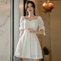 純白の爽やかな姫系Aラインドレス(キャバドレス・CABARETDRESS)