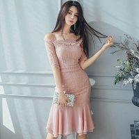 柔らかフェミニンピンクのマーメイドラインドレス(キャバドレス・CABARETDRESS)