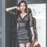 【会員限定☆15%OFF】カシュクールギャザーのタイトなシアーレースドレス(キャバドレス・CABARETDRESS)