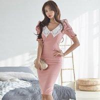 【歳末SALE☆全品15%OFF】レトロガーリーなパフスリーブの襟付きドレス(キャバドレス・CABARETDRESS)