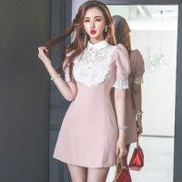 フェミニンピンクのレーシーな襟付きミニドレス(キャバドレス・CABARETDRESS)