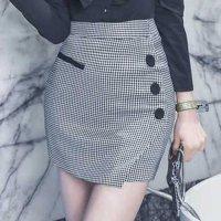 【歳末SALE☆全品10%OFF】ラップデザイン風ギンガムチェックのスカート(SKIRT)