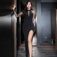 シースルードットのスリットロングドレス(キャバドレス・CABARETDRESS)