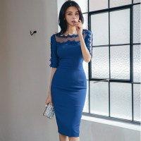【最大25%OFF☆ホワイトデー】ビビッドブルーのポイントメッシュドレス(キャバドレス・CABARETDRESS)