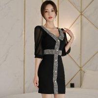繊細なレースから素肌が透ける女性の魅力を引き出してくれるデザインのドレス(キャバドレス・CABARETDRESS)