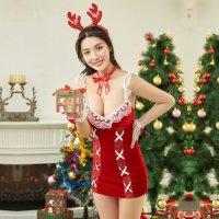 クリスマスを楽しめるボディコン風のタイトなラインがフェロモンを発するサンタガール風コスプレ(COSPLAY)