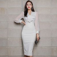 【会員限定☆15%OFF】透け感たっぷり純白の上品デザインなドレス(キャバドレス・CABARETDRESS)