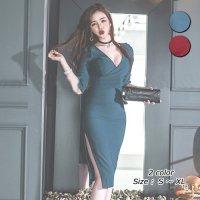 大きくあいたデコルテラインがとびきりセクシーなミディ丈ドレス(キャバドレス・CABARETDRESS)