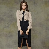【最大30%OFF☆ホワイトデー】柔らか素材ブラウスとデザイン抜群スカートのセットアップドレス(キャバドレス・CABARETDRESS)