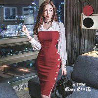 サイドの大き目ボタンが遊び心たっぷり清楚系ドレス(キャバドレス・CABARETDRESS)