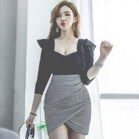 上品な大人可愛い大きなフリルのミニ丈ドレス(キャバドレス・CABARETDRESS)
