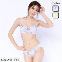 【最大25%OFF☆ホワイトデー】優しい繊細タッチのフラワー柄刺繍のブラ・ショーツセット(ブラセット)