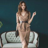 深めVネックがデコルテを美しく魅せる大人っぽいミディ丈ドレス(キャバドレス・CABARETDRESS)
