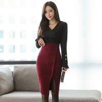【最大25%OFF☆ホワイトデー】シックな黒とダークな赤の大人カラーのツーピースドレス(キャバドレス・CABARETDRESS)