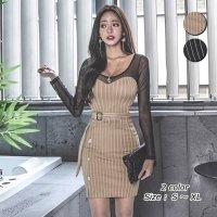 【最大25%OFF☆ホワイトデー】程良い透け感が大人セクシーな印象のミニ丈ドレス(キャバドレス・CABARETDRESS)