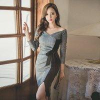 【最大25%OFF☆ホワイトデー】大胆カットのスリットと胸元のカシュクールなミディ丈ドレス(キャバドレス・CABARETDRESS)