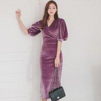 あたたかなベロア生地でカシュクール風に仕立て上げられたラグジュアリー感の溢れるロング丈ドレス(キャバドレス・CABARETDRESS)