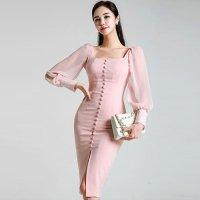 優しい色合いが可愛いパフスリーブのワンピースミディ丈ドレス(キャバドレス・CABARETDRESS)