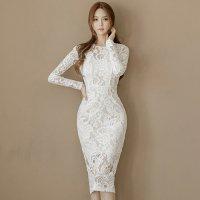 透け感たっぷりボディラインを綺麗に魅せる上品なミディ丈ドレス(キャバドレス・CABARETDRESS)]