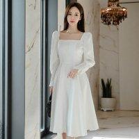 純白ドレスを思わせる清楚風ミディ丈ワンピースドレス(キャバドレス・CABARETDRESS)