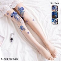 青色の刺繍が目を惹く上品感溢れる煌びやかな花柄デザインストッキング(STOCKING)