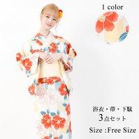 【只今決算SALE開催中!】椿と桜の古典柄で明るめのカラーでかわいらしく仕上げた浴衣3点セット(YUKATA)