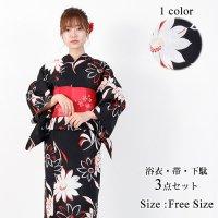 【只今決算SALE開催中!】黒地に赤が映える大き目の花柄が素敵な浴衣3点セット(YUKATA)