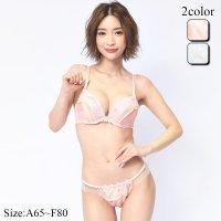 透かし効果のフラワー刺繍レースがエレガントな印象のブラ・ショーツセット(ブラセット)