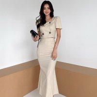 すらりと美ラインを強調するロングスカートのツーピースドレス(キャバドレス・CABARETDRESS)