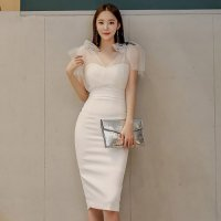 リボンショルダーが上品で優しい印象にするミディ丈ドレス(キャバドレス・CABARETDRESS)