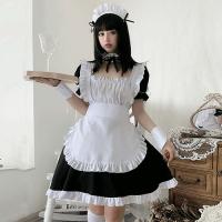【只今ハロウィンフェア開催中!】ミニ丈白×黒の正統派メイドさん風コスプレ(COSPLAY)