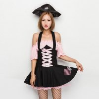 【只今ハロウィンフェア開催中!】黒とピンクが映えるミニ丈ワンピのかわいい海賊風コスプレ(COSPLAY)