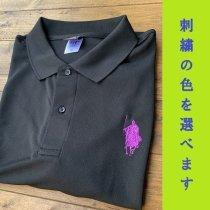 【シルエット殿・刀】ポロシャツ・選べる刺繍カラー<ブラック>