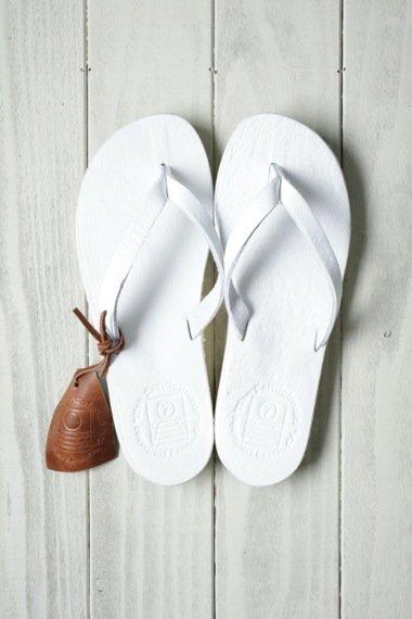 SANDALMAN×YELLOW CAKE Leather Sandal White WOMEN'S