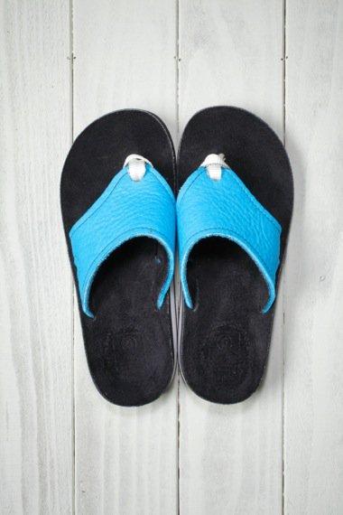 SANDALMAN×YELLOW CAKE Turquoise Leather Sandal